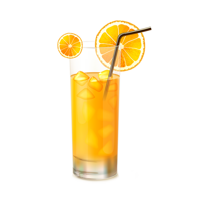 Vector orange. Juice glass png and