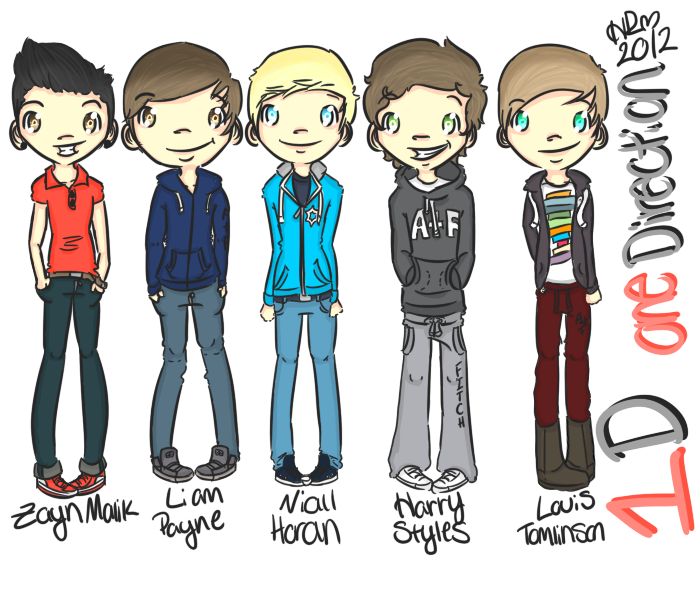 Glee drawing group boy. One direction by hannahrenae