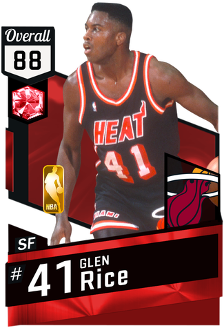 Glen rice png. Myteam ruby card