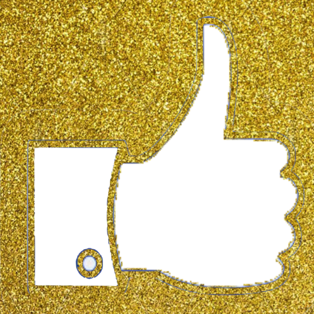 Falling gold glitter png. Facebook thumb like vector