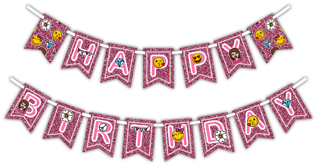 Girl pink emoji happy. Glitter banner png picture transparent library