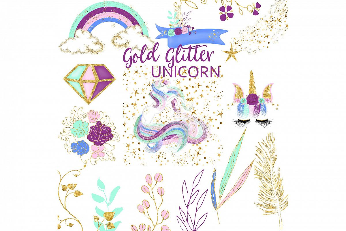 Glitter clipart. Gold unicorn by fantasy