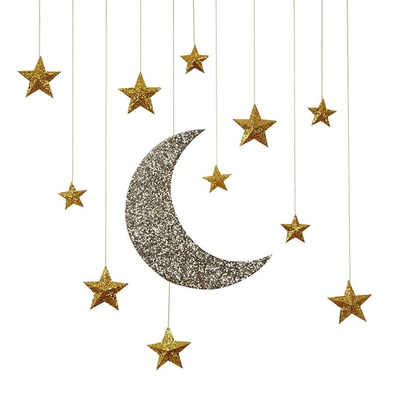 Glitter clipart fancy star. Moon stars hanging decorations free library