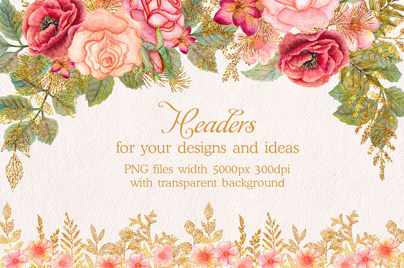 Glitter clipart glitter flower. Watercolor floral headers clip graphic