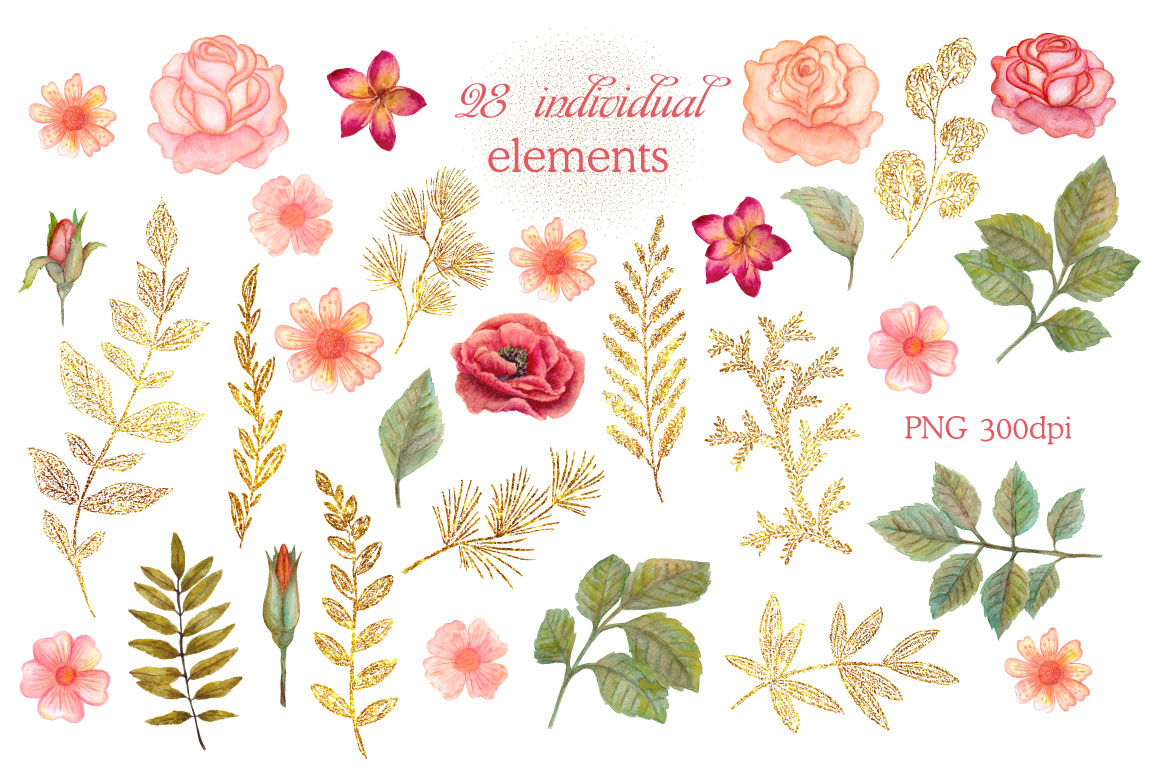 Watercolor floral headers by. Glitter clipart glitter flower clipart royalty free stock
