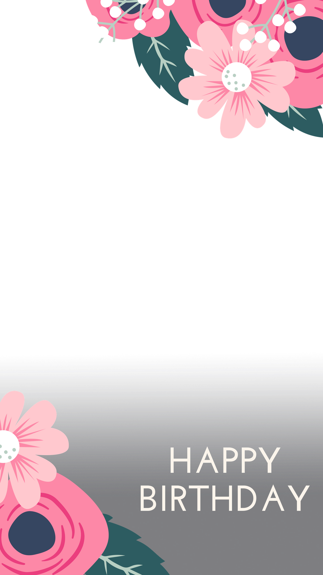 Pink flowers birthday snapchat. Glitter clipart gradient vector black and white stock