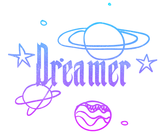 Glitter clipart gradient. Dreamer word words planets
