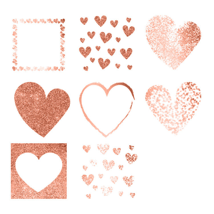 Glitter clipart rose gold heart. Hearts clip art design