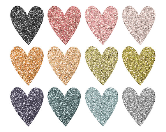 Glitter clipart rose gold heart. Valentines clip art digital