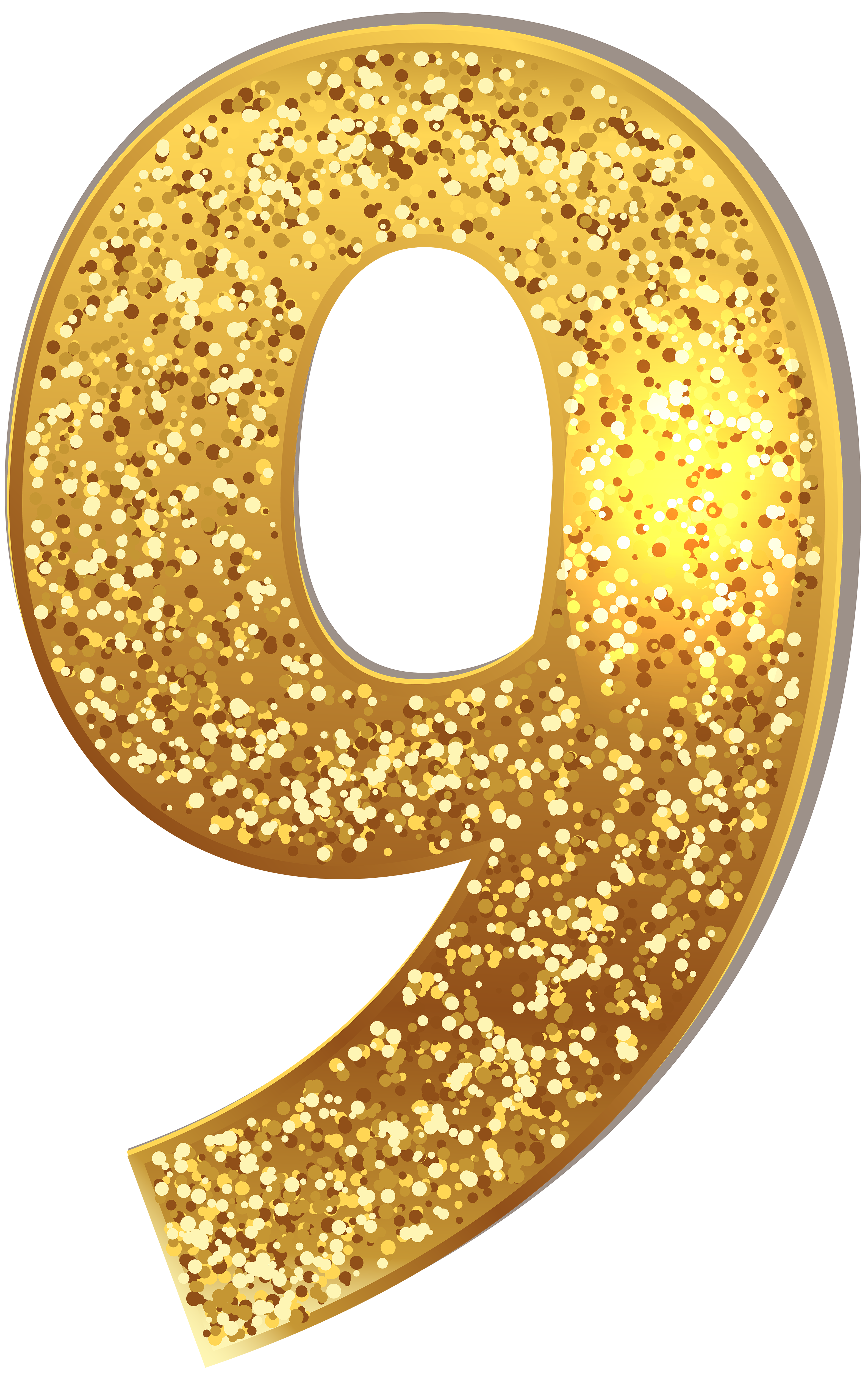 Glitter numbers png. Number nine gold shining