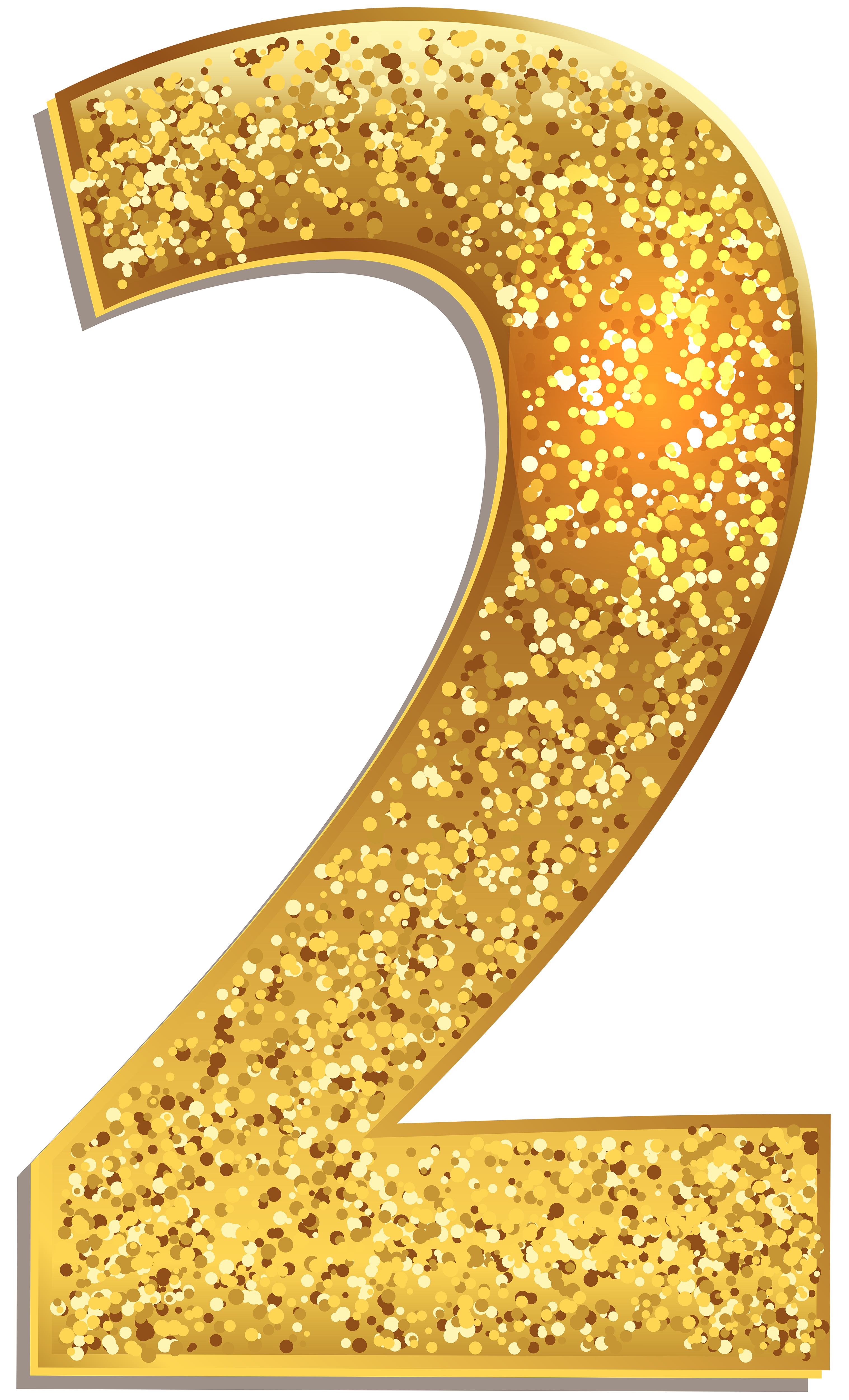 Glitter numbers png. Number two gold shining