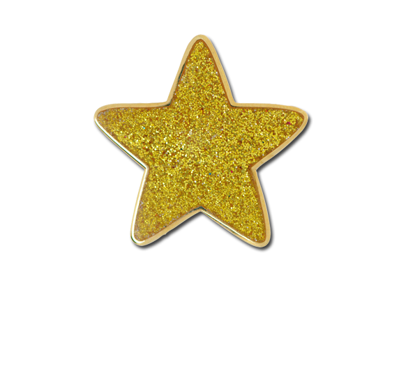 Glitter star png. Yellow badge badges plus