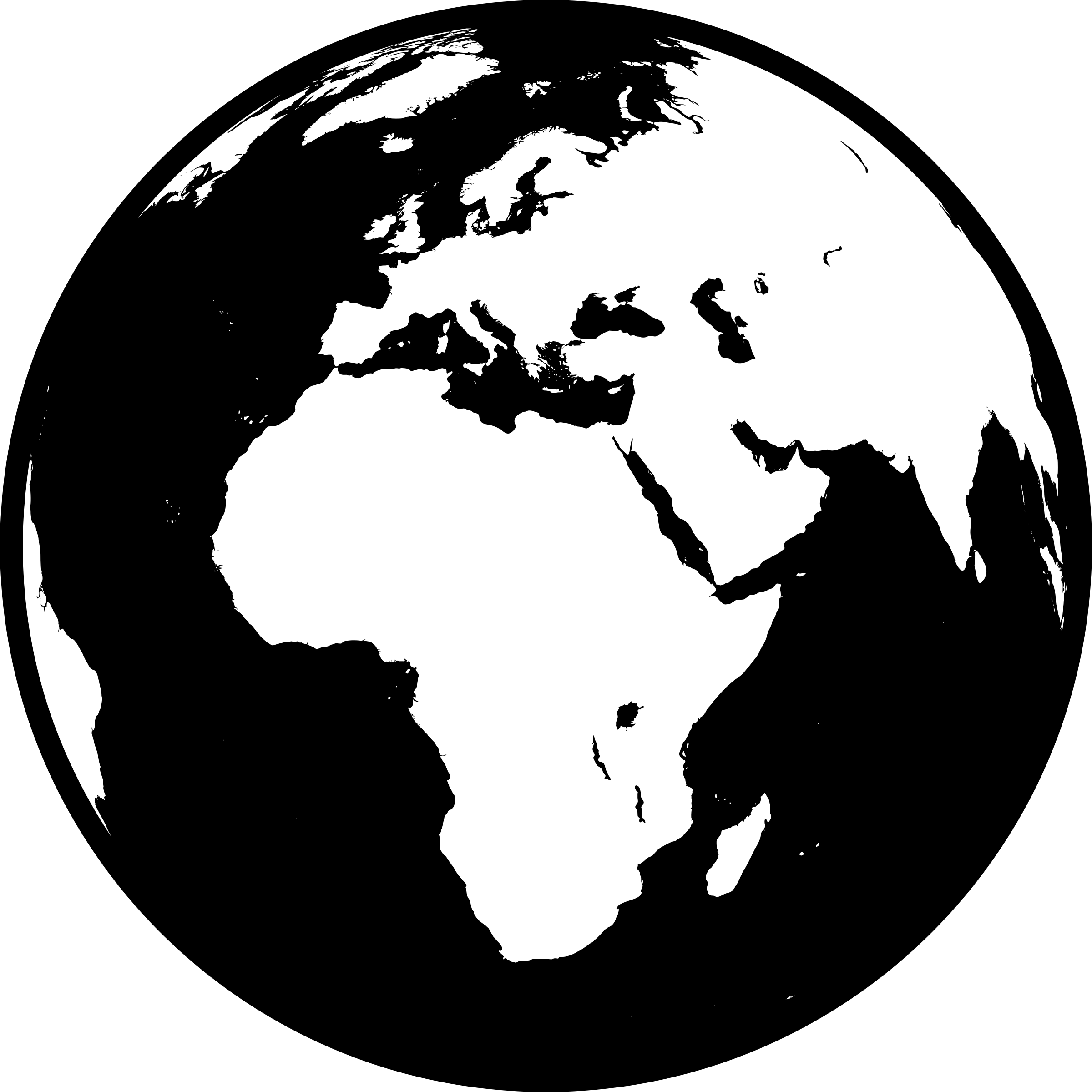 Globe png black and white. Showing africa asia europe