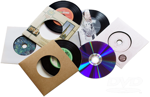 Cd transparent record. Vinyl dvds in style