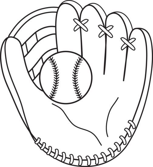 Glove clipart colouring. Baseball mitt coloring page