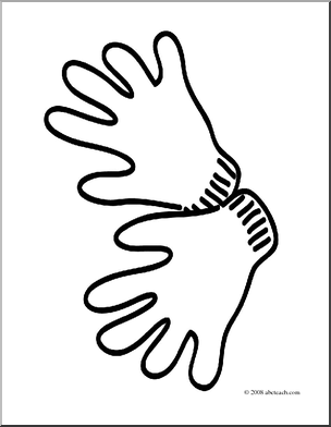 Glove clipart colouring. Coloring page panda free