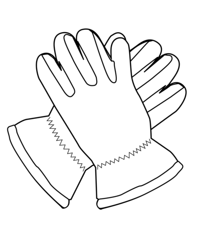 Glove clipart colouring. Gloves coloring page free