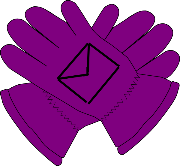 Glove vector safety. Purple gloves envelope clip
