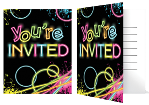 Neon party png. Glow invitations pk just