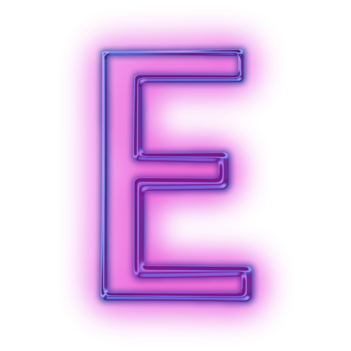 E transparent neon. Letter icons png vector