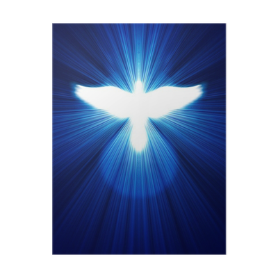 Glowing transparent rays. Dove against blue poster