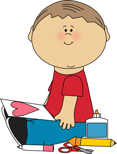 Glue clipart kid. Boy drawing a valentine