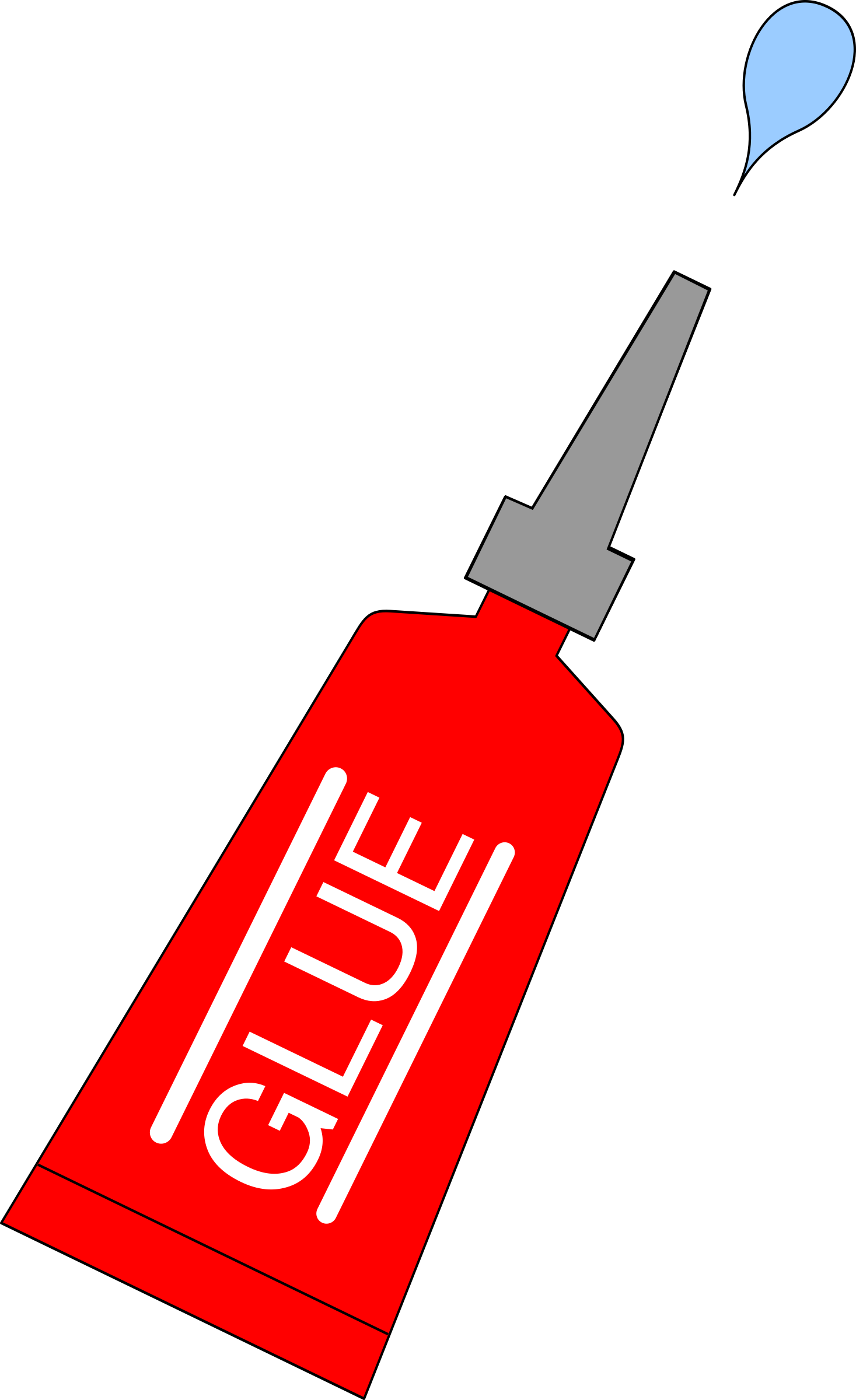 Glue clipart red. Tube with drop big