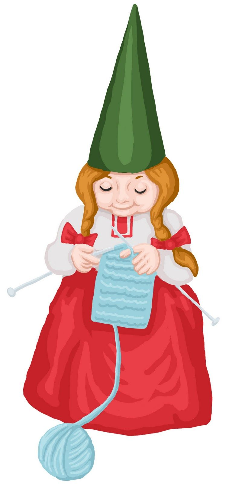 Gnome clipart gnome hat. Knitting girl mian room
