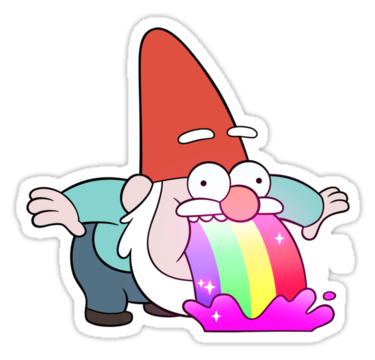 Gnome vector gravity falls. Rainbow vomiting sticker by