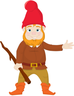 Gnome vector silhouette. Garden drawing fairy tale