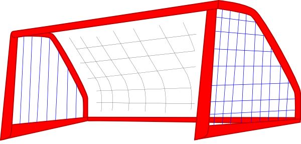 Goal vector drawn soccer. Red net blue lines