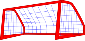 Goal drawing soccer net. Red post and blue