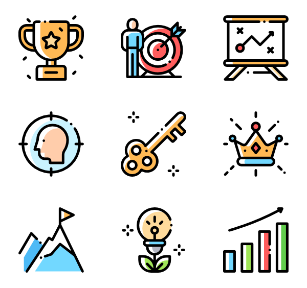 Goal vector motivation. Icons free