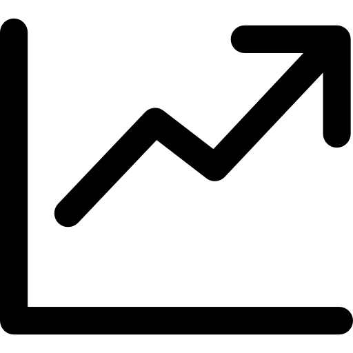 Growth vector business. Line chart icons free