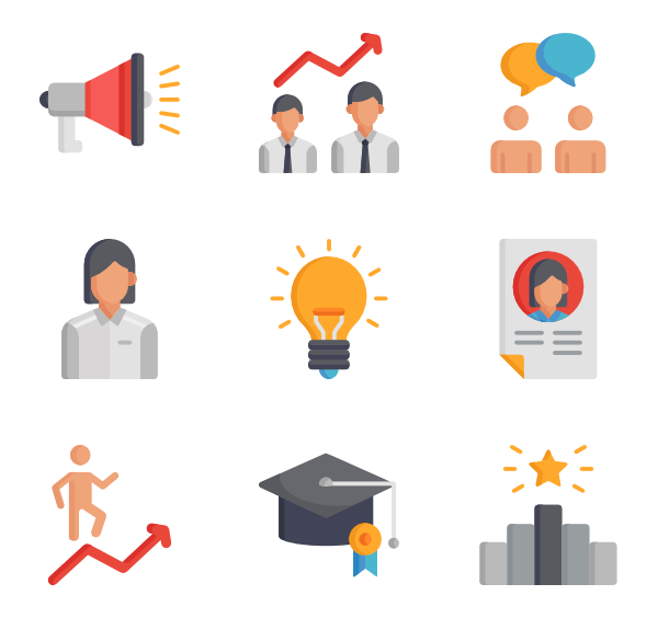 Motivation icons free promotion. Job vector flat design banner royalty free