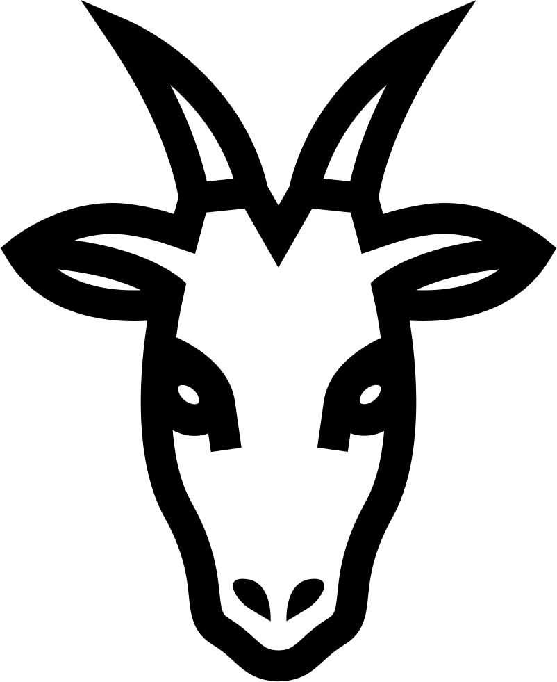 Goat head png. Frontal outline svg icon