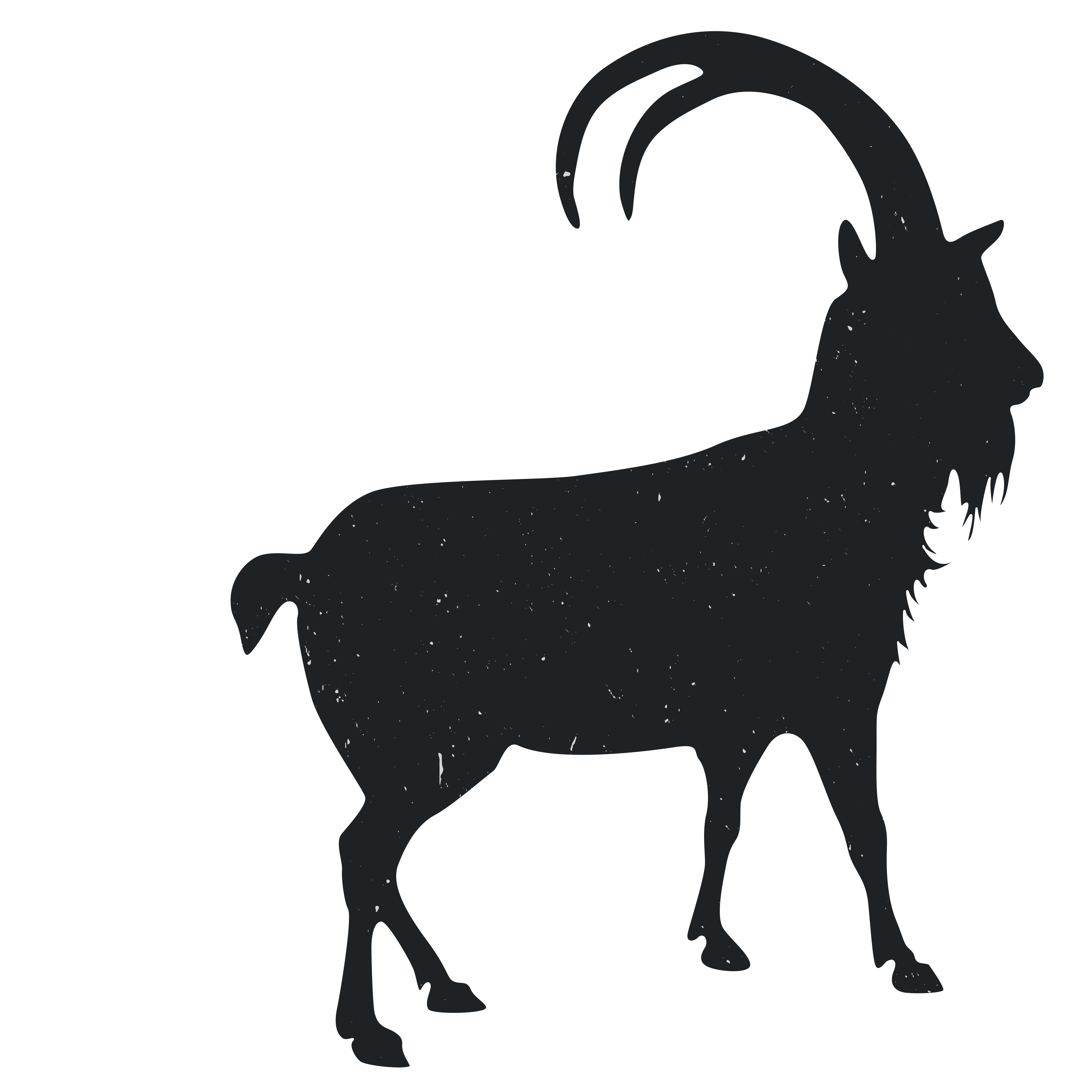 Goat silhouette png. Black and white animal