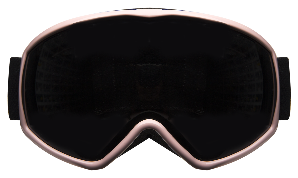 Goggles transparent snowboarding. Ski pale pink with