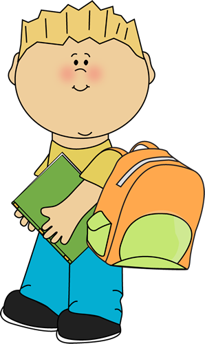 Going clipart kids. Boy to school from