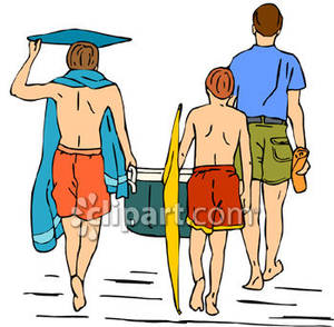 Going to clipart. Man and his sons