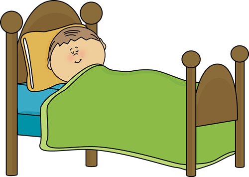 Going to clipart bed. At night letters format