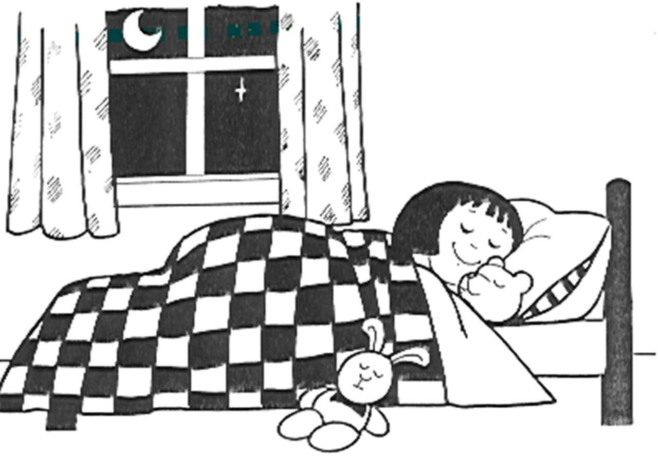 Going to clipart bed. Black and white printable
