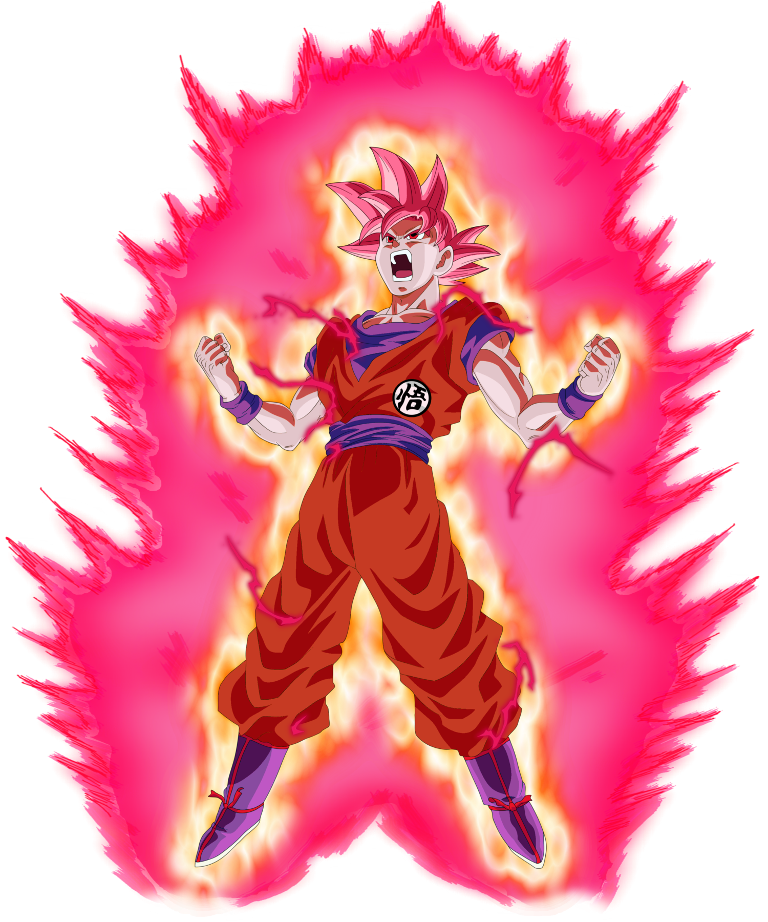 Goku super saiyan god png. Kaioken art originally by