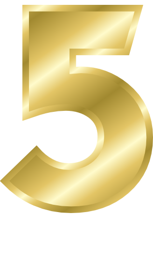 Gold 5 png. Number signs symbol alphabets