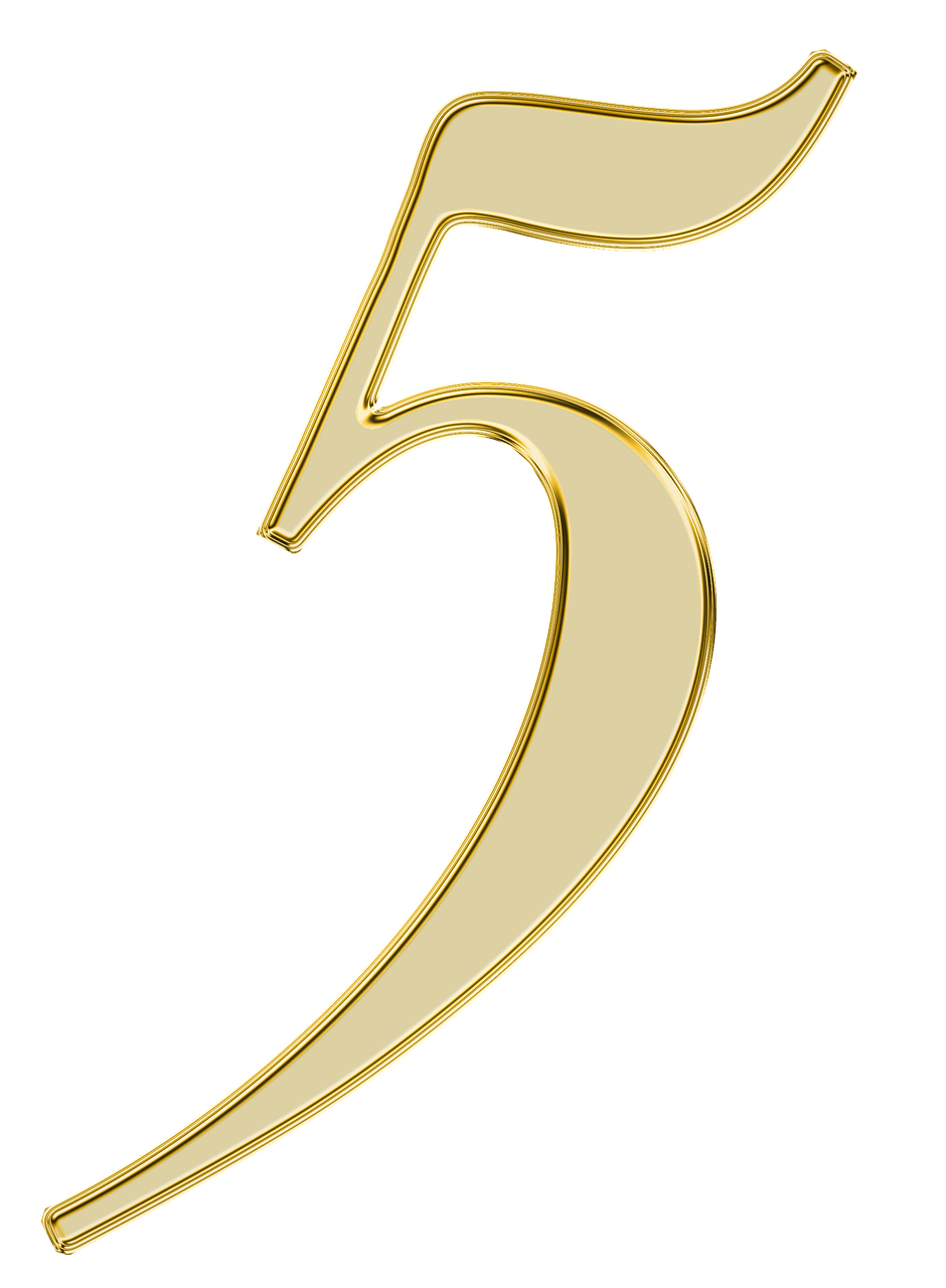 Gold 5 png. Number golden transparent stickpng