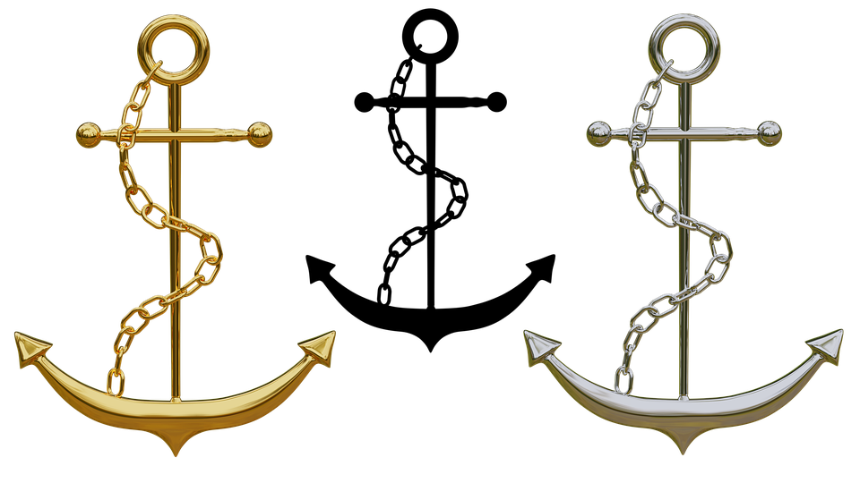 Gold anchor png. Free photo isolated jewellery