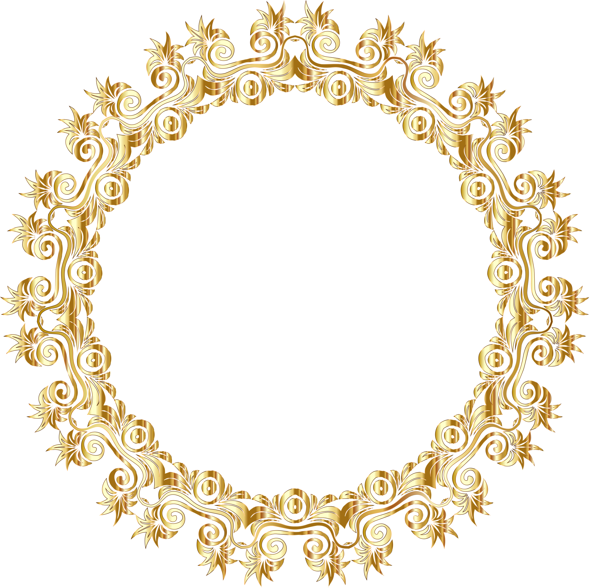 Gold background png. Floral flourish motif frame