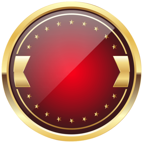 Gold badge png. Red and template free