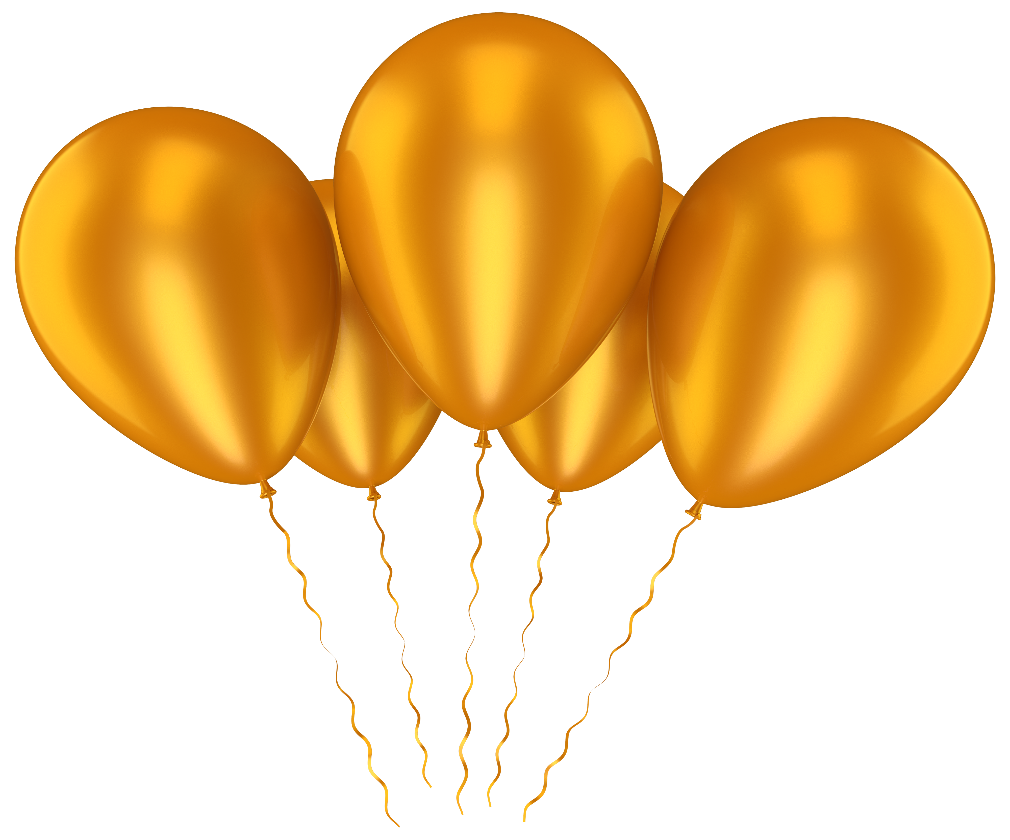 Gold balloons png. Transparent clip art picture