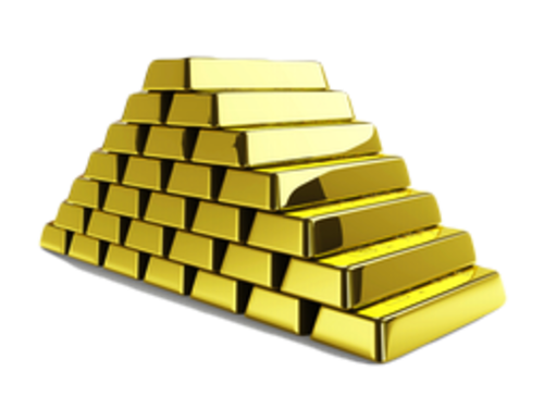 Transparent pyramid gold. Of bars png image